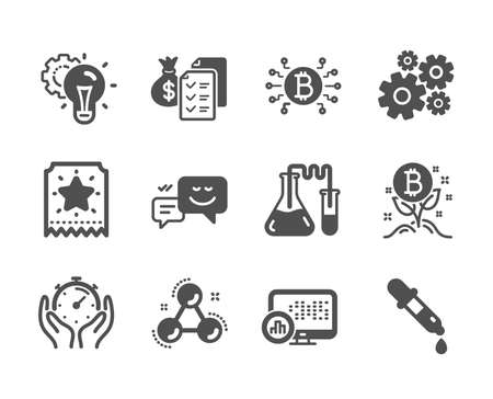 Set of Technology icons, such as Accounting wealth, Loyalty ticket, Chemistry molecule, Bitcoin project, Idea gear, Chemistry pipette, Cogwheel, Timer, Bitcoin system, Report statistics. Vector