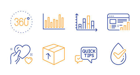 Diagram graph, Quick tips and 360 degrees line icons set. Package, Web report and Bar diagram signs. Hold heart, Dermatologically tested symbols. Presentation chart, Helpful tricks. Vector
