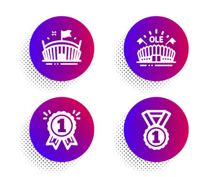 Arena, Reward and Sports arena icons simple set. Halftone dots button. Best rank sign. Sport stadium, First place, Event stadium. Success medal. Sports set. Classic flat arena icon. Vector 일러스트