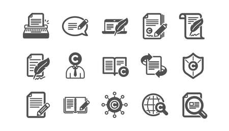 Copywriting icons. Copyright, Typewriter and Feedback. Legal content classic icon set. Quality set. Vector Çizim