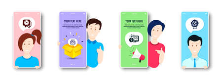 Online quiz, Clock and Mail correspondence icons simple set. People on phone screen. Reject medal sign. Web support, Time, E-mail newsletter. Award rejection. Technology set. Vector Illusztráció