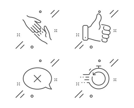Reject, Helping hand and Like hand line icons set. Fast recovery sign. Delete message, Give gesture, Thumbs up. Backup timer. Business set. Line reject outline icon. Vector 向量圖像