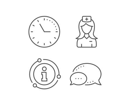 Hospital nurse line icon. Chat bubble, info sign elements. Medical help assistant sign. Linear hospital nurse outline icon. Information bubble. Vector Ilustração
