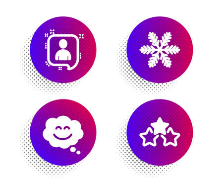 Developers chat, Smile chat and Snowflake icons simple set. Halftone dots button. Ranking stars sign. Manager talk, Happy face, Air conditioning. Winner award. Technology set. Vector
