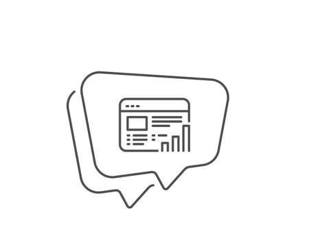 Web report line icon. Chat bubble design. Column graph sign. Growth diagram symbol. Outline concept. Thin line web report icon. Vector Archivio Fotografico - 133855731