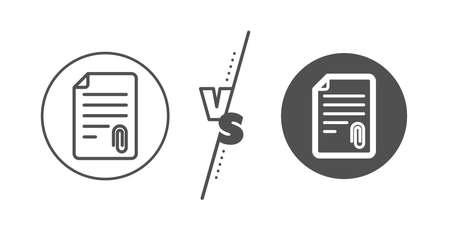 Symbole de fichier de document. Versus concept. Icône de ligne de pièce jointe CV. Ligne vs icône de pièce jointe classique. Vecteur