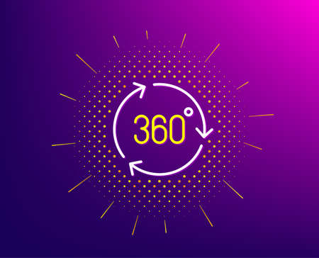 360 degree line icon. Halftone pattern. VR technology simulation sign. Panoramic view symbol. Gradient background. 360 degree line icon. Yellow halftone pattern. Vector