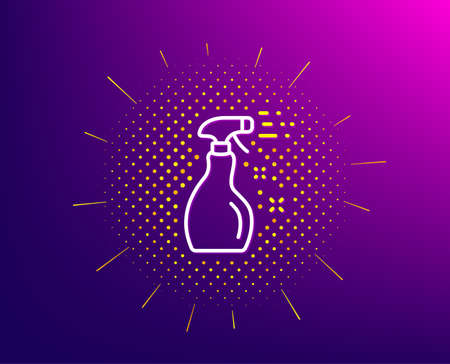 Cleaning spray line icon. Halftone pattern. Washing liquid or Cleanser symbol. Housekeeping equipment sign. Gradient background. Cleaning spray line icon. Yellow halftone pattern. Vector 스톡 콘텐츠 - 133855577