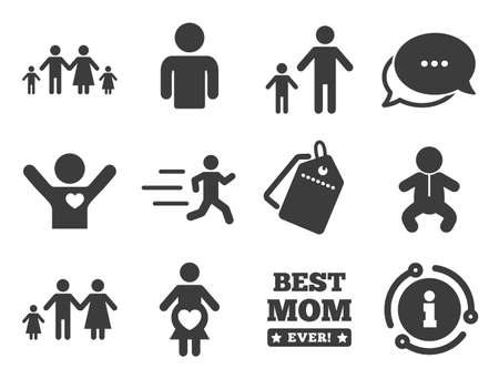 Maternity, person and baby signs. Discount offer tag, chat, info icon. People, family icons. Best mom, father and mother symbols. Classic style signs set. Vector