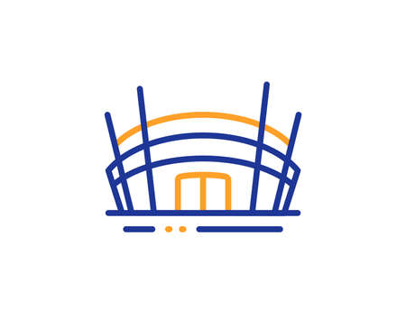 Competition building sign. Arena stadium line icon. Sport complex symbol. Colorful outline concept. Blue and orange thin line arena stadium icon. Vector Illustration