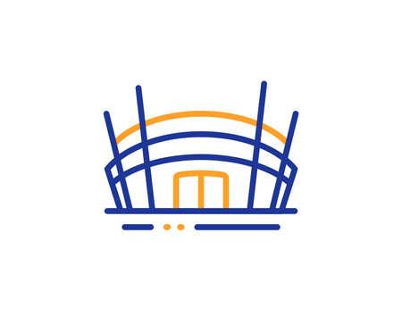 Signo de construcción de competencia. Icono de línea de estadio de arena. Símbolo del complejo deportivo. Concepto de esquema colorido. Icono de estadio de arena de línea fina azul y naranja. Vector
