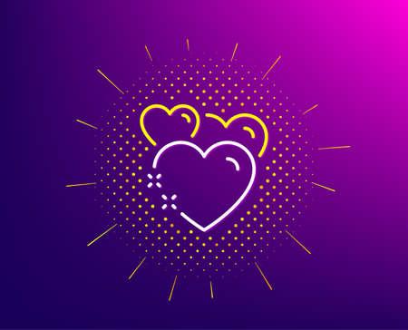 Heart line icon. Halftone pattern. Love emotion sign. Valentine day symbol. Gradient background. Heart line icon. Yellow halftone pattern. Vector