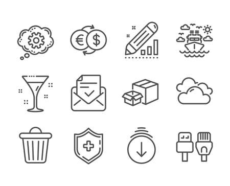 Set of Business icons, such as Computer cables, Edit statistics, Money exchange, Scroll down, Cloudy weather, Ship travel, Approved mail, Packing boxes, Cogwheel, Trash bin, Cocktail. Vector