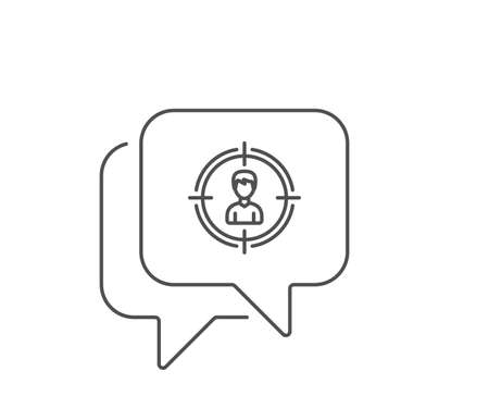 Head hunting line icon. Chat bubble design. Business target or Employment sign. Outline concept. Thin line headhunting icon. Vector Illustration