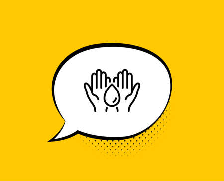 Safe water line icon. Comic speech bubble. Fluid sign. Ecology energy symbol. Yellow background with chat bubble. Safe water icon. Colorful banner. Vector Stock Vector - 133855590