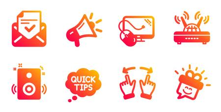 Speakers, Approved mail and Wifi line icons set. Megaphone, Move gesture and Quick tips signs. Computer mouse, Smile symbols. Sound, Confirmed document. Technology set. Vector