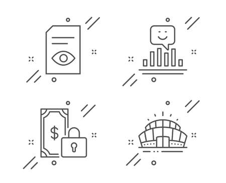 Smile, Private payment and View document line icons set. Arena stadium sign. Positive feedback, Secure finance, Open file. Sport complex. Business set. Line smile outline icon. Vector