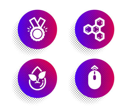 Chemical formula, Honor and Organic product icons simple set. Halftone dots button. Swipe up sign. Chemistry, Medal, Leaf. Scrolling page. Business set. Classic flat chemical formula icon. Vector