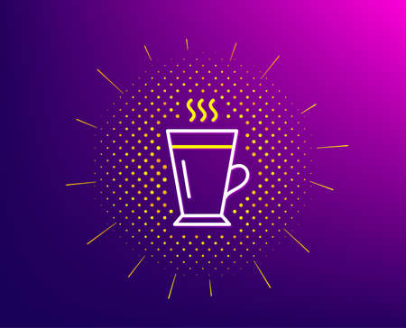 Latte line icon. Halftone pattern. Hot Coffee or Tea sign. Fresh beverage symbol. Gradient background. Latte line icon. Yellow halftone pattern. Vector