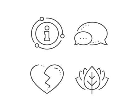 Broken heart line icon. Chat bubble, info sign elements. Love crush sign. Divorce symbol. Linear broken heart outline icon. Information bubble. Vector