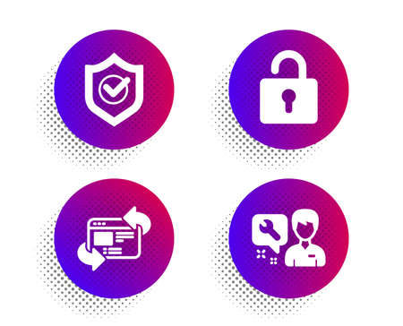 Approved shield, Lock and Refresh website icons simple set. Halftone dots button. Repairman sign. Protection, Private locker, Update internet. Repair service. Technology set. Vector Illusztráció