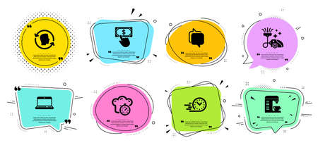Notebook, Cooking timer and Messenger line icons set. Chat bubbles with quotes. Fast delivery, Face id and Coffee machine signs. Payment click, Vacuum cleaner symbols. Vector