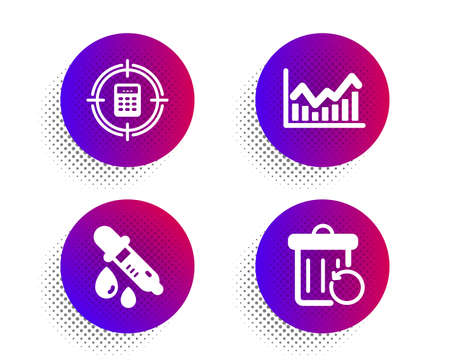 Calculator target, Chemistry pipette and Infochart icons simple set. Halftone dots button. Recovery trash sign. Audit, Laboratory, Stock exchange. Backup file. Education set. Vector Archivio Fotografico - 133855609