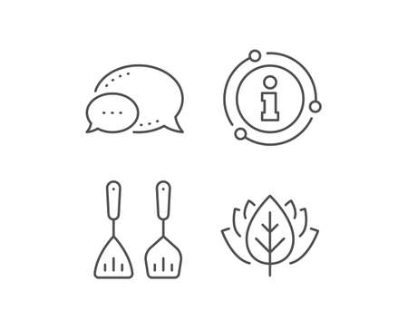 Cooking cutlery line icon. Chat bubble, info sign elements. Kitchen accessories sign. Food preparation symbol. Linear cooking cutlery outline icon. Information bubble. Vector Ilustracja