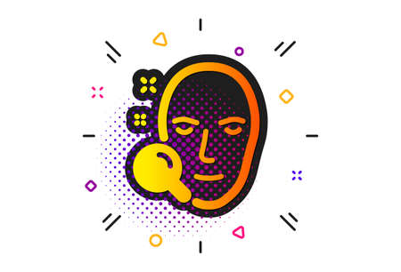 Head recognition sign. Halftone circles pattern. Face search icon. Classic flat face search icon. Vector Ilustracja
