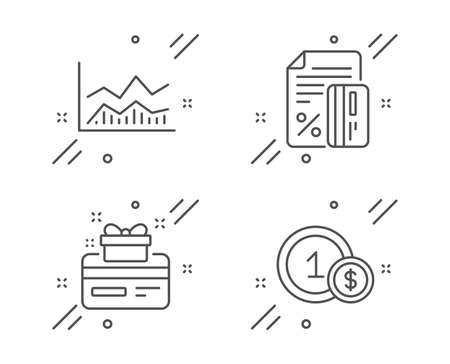 Credit card, Loyalty card and Trade infochart line icons set. Usd coins sign. Loan percent, Bonus points, Business analysis. Cash payment. Finance set. Line credit card outline icon. Vector Illustration