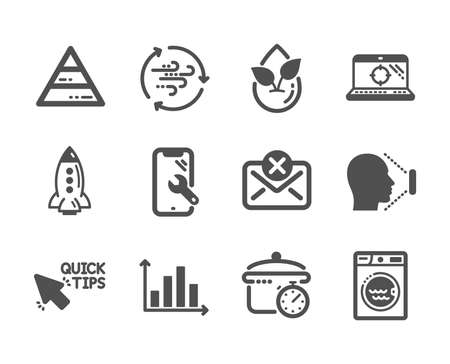 Set of Technology icons, such as Reject mail, Diagram graph, Quick tips, Face id, Organic product, Smartphone repair, Seo laptop, Boiling pan, Pyramid chart, Laundry, Rocket, Wind energy. Vector Reklamní fotografie - 133855622