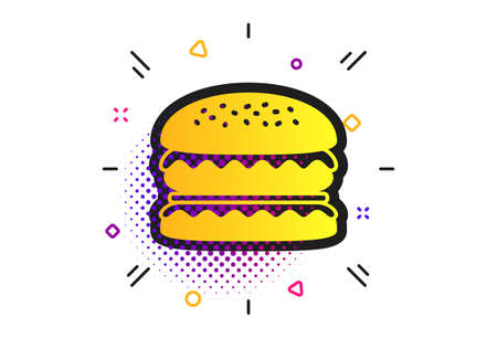 Hamburger icon. Halftone dots pattern. Burger food symbol. Cheeseburger sandwich sign. Classic flat burger icon. Vector