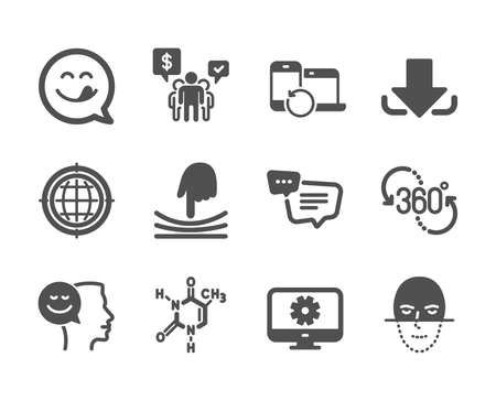 Set of Technology icons, such as Text message, Yummy smile, Chemical formula, Elastic, Face recognition, Download, Recovery devices, Teamwork, Monitor settings, Seo internet, 360 degree. Vector Reklamní fotografie - 133855625