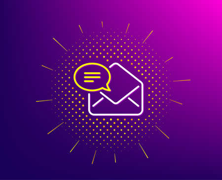 New Mail line icon. Halftone pattern. Message correspondence sign. E-mail symbol. Gradient background. New Mail line icon. Yellow halftone pattern. Vector