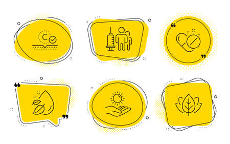 Medical vaccination, Collagen skin and Organic tested signs. Chat bubbles. Water drop, Medical pills and Sun protection line icons set. Serum oil, Drugs, Ultraviolet care. Syringe vaccine. Vector Archivio Fotografico - 133855628