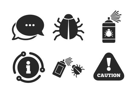 Caution attention symbol. Chat, info sign. Bug disinfection icons. Insect fumigation spray sign. Classic style speech bubble icon. Vector