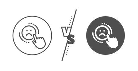 Negative feedback rating sign. Versus concept. Dislike line icon. Customer satisfaction symbol. Line vs classic dislike icon. Vector Ilustrace