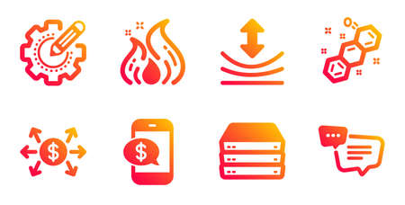 Phone payment, Dollar exchange and Servers line icons set. Fire energy, Resilience and Settings gear signs. Chemical formula, Text message symbols. Mobile pay, Payment. Technology set. Vector