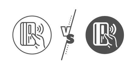 Signo de dinero. Versus concepto. Icono de línea de tarjeta de pago sin contacto. Línea vs icono de pago sin contacto clásico. Vector