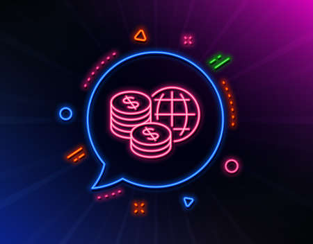 World money line icon. Neon laser lights. Global markets sign. Internet payments symbol. Glow laser speech bubble. Neon lights chat bubble. Banner badge with world money icon. Vector Ilustrace