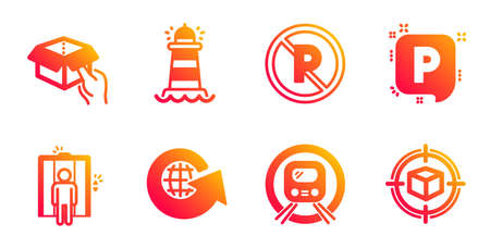 Parking, Metro subway and World globe line icons set. Lighthouse, No parking and Hold box signs. Elevator, Parcel tracking symbols. Auto park, Underground. Transportation set. Vector