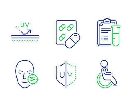 Medical analyzes, Capsule pill and Uv protection line icons set. Problem skin, Uv protection and Disabled signs. Medicine results, Medicine drugs, Ultraviolet. Facial care. Healthcare set. Vector