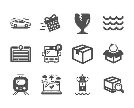 Set of Transportation icons, such as Fragile package, Airplane travel, Lighthouse, Waves, Present delivery, Car, Bus parking, Return package, Train, Parking garage, Parcel classic icons. Vector