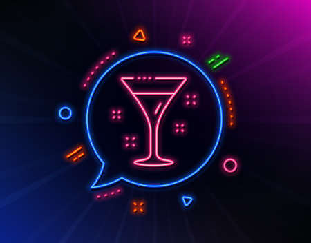 Cocktail glass line icon. Neon laser lights. Martini drink sign. Hotel service symbol. Glow laser speech bubble. Neon lights chat bubble. Banner badge with cocktail icon. Vector Illustration