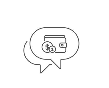 Wallet with Cash money line icon. Chat bubble design. Dollar currency sign. Payment method symbol. Outline concept. Thin line buying accessory icon. Vector 向量圖像