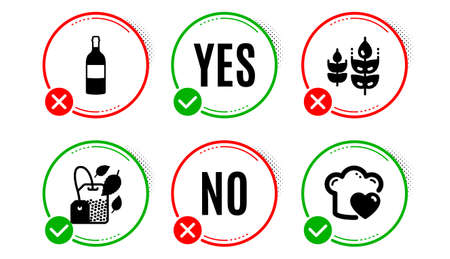 Gluten free, Mint bag and Wine bottle icons simple set. Yes no check box. Love cooking sign. Bio ingredients, Mentha tea, Cabernet sauvignon. Chef hat. Food and drink set. Gluten free icon. Vector  イラスト・ベクター素材
