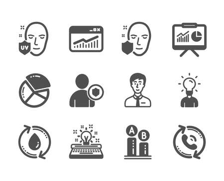 Set of Business icons, such as Face protection, Security, Website statistics, Education, Call center, Typewriter, Pie chart, Uv protection, Presentation, Ab testing, Businessman person. Vector Archivio Fotografico - 133855670