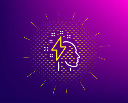Creative brainstorming line icon. Halftone pattern. Human head with lightning bolt sign. Inspiration symbol. Gradient background. Brainstorming line icon. Yellow halftone pattern. Vector