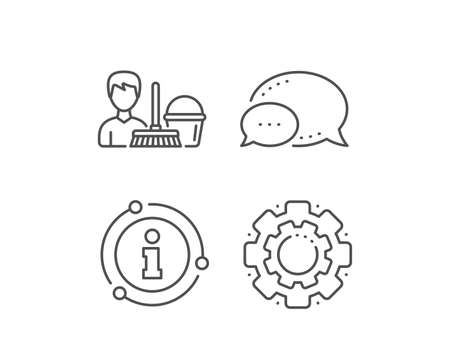Cleaning service line icon. Chat bubble, info sign elements. Bucket with mop symbol. Washing Housekeeping equipment sign. Linear cleaning service outline icon. Information bubble. Vector 일러스트