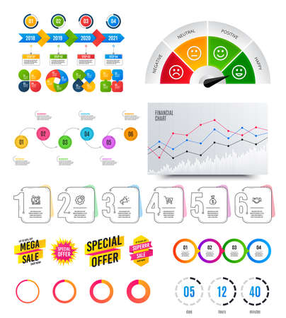 Infographic elements. Financial graph, timelines, options banner badges. Sale discount shapes, countdown timer. Analytics chart, timeline infographics. Offer layout page. Vector graphs and charts Archivio Fotografico - 133855674